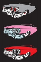 Cadillac artwork for T-Shirts -  car illustrated down to 3 colour vector and ready for computer cuttin