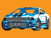 Mustang Illustration -  4 Spot Colour Vector Illustration -  Cyan, Dark Blue, White &