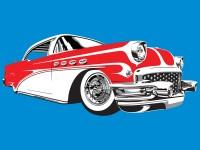 Oldsmobile Illustration -  4 Spot colour vector Illustration -  Grey, Red, White & Black