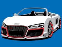 Audi Illustration -  5 Spot colour vector illustration -  Light Grey, Dark Grey, Red, W